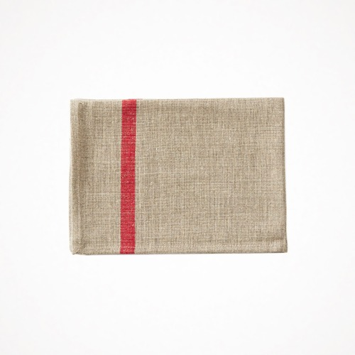 linen kitchen cloth - red line natural
