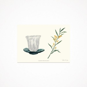 cup and flower - drawing card