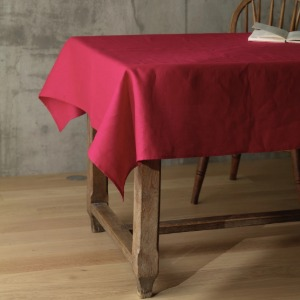 linen tablecloth - poppy red